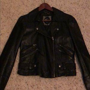 GUESS Black Leather Moto Coat Sz S